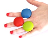 Statement Stackable Rings Fused Glass - bold handmade adjustable cocktail ring - 3 RING SAMPLER - 1.3 inch