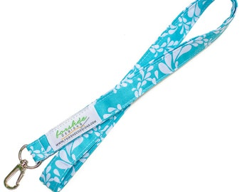 Fabric Lanyard  ID Badge Holder -- Aqua and White Floral -- Ready To Ship