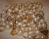 Handmade Sterling Silver & White Freshwater Pearl Wedding Lasso (Lazo) Rosary