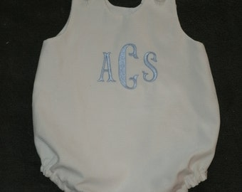 Personalized White Pique Bubble Romper with Monogram Sunsuit Monogrammed