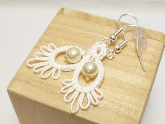 Tatted Lace wedding earrings with pearls -Frilly Drips MTO your color choice