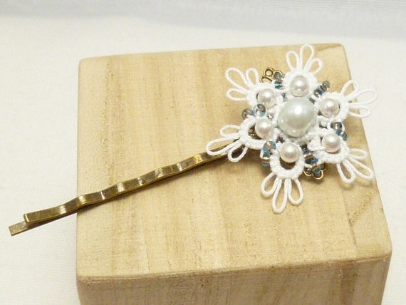 Tatted Snowflake Bobby Hair Pin with glass beads -The Dainty MTO