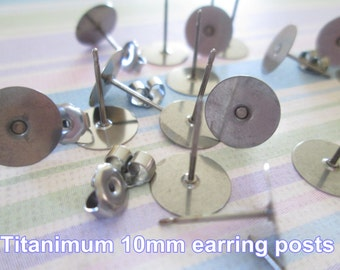50pcs (25 pairs) Titanium Nickel Free 10mm Flat-Pad Earring Posts and Backs glue on diy jewelry finding supplies