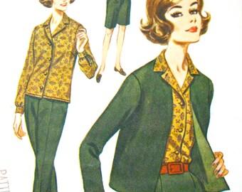 Uncut Vintage Butterick 2424 1960s Pants Blouse Jacket  sewing pattern  Bust 40 inches