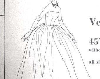 1950s Vogue Special Design 4017 Evening Gown   Bust  32 inches