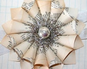 Small Paper Cone Holiday w/Vintage Silver Glass Bead Ornament