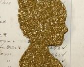Genuine German Gold Glass Glitter Silhouette Vintage Inspired Ornament