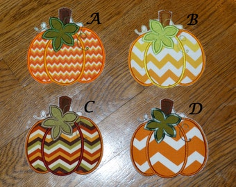 Embroidered Iron On Applique-Chevron Pumpkins  RTS