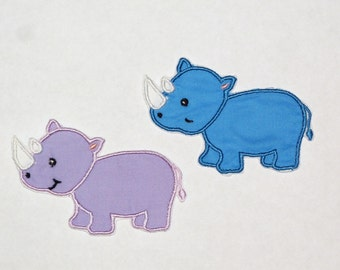 Embroidered Iron On Applique- Rhino