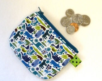 Mini Coin Purse Teeny Tiny Zoo Pool Animals Fabric Zipper Change Purse Hippo Elephant Tiger Giraffe Turtle Blue Teal Green
