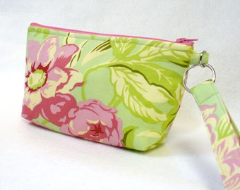 SALE! Bridesmaid Wristlet Clutch Purse Zipper Pouch Cosmetic Bag Makeup Bag Key Fob Amy Butler Temple Flowers Mint Spring Green Pink