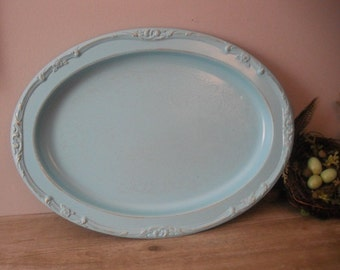 vintage upcycled AQUA  Blue ornate oval tray ... Wedding Shabby chic cottage