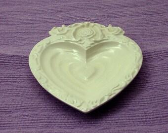 HEART Dish in White Glaze Handmade Ceramic Pottery-Candy Dish