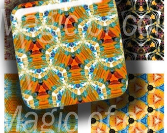 Kaleidoscopical Patterns - 63  1x1 Inch Square JPG images - Digital  Collage Sheet