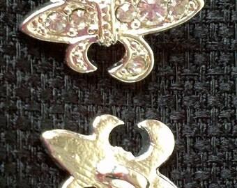 "Rhinestone Fleur de Lis - Silver Plated Buttons - 3/4"" x 9/16"" - 2"