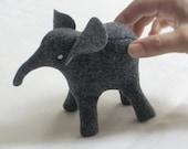 Eco-friendly ELEPHANT Soft Sculpture Plush Toy Peluche—Endangered Babies, Vegan, Eco-Felt & Organic Cotton Stuffing [Gris éléphant elefante]