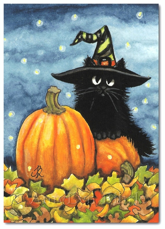 Black Fuzzy Cat Halloween Pumpkin Witch Hat Art By