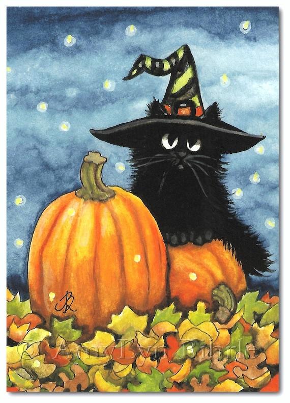 Black Fuzzy Cat Halloween Pumpkin Witch Hat Art By