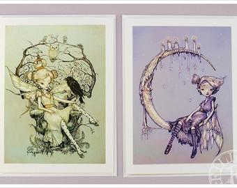 2 Fairy Cards - Rose - Moon - Fantasy Art - Fairy Tale - Purple Green Silver Gold - Art Cards - blank cards - Fairy Tale Art