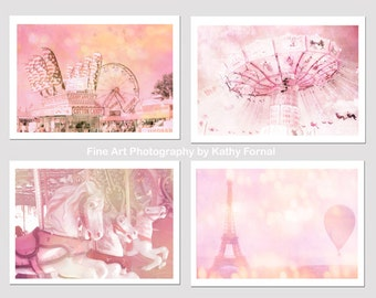 Baby Girl Nursery Decor, Dreamy Pink Carnival Prints, Paris Pink Eiffel Tower Balloon, Baby Pink Ferris Wheel, Carousel Carnival Print Set