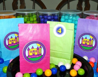 Custom Bounce House Goody Bags w/Sticker Seals. Bounce House Party. Bounce House Birthday. Bounce House Favor Bags. Set of 10. Pick Size