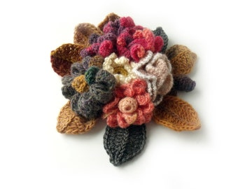 Freeform crochet, 3D flower corsage, Pin brooch, CUSTOM ORDERS. Choose ONE