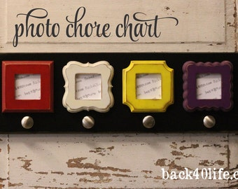Family PHOTO Chore Chart (S-014b) - distressed wood sign