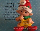 Red elf holding Holding Star FIRST Christmas Ornament 1st Christmas Ornament Personalized with gift box