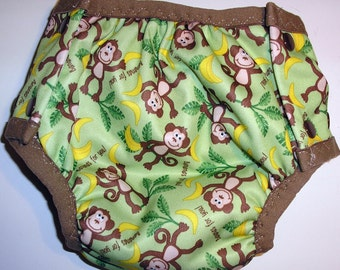 AIO diaper training pant side snap zorb and hemp core with Cotton Sherpa lining Monkey print PUL outer layer