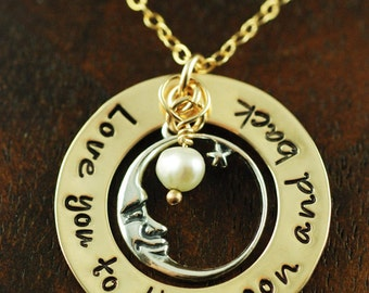 Hand Stamped Jewelry, Personalized Necklace, Love you to the Moon and Back, Mommy Jewelry, Gold Necklace, Mommy Necklace