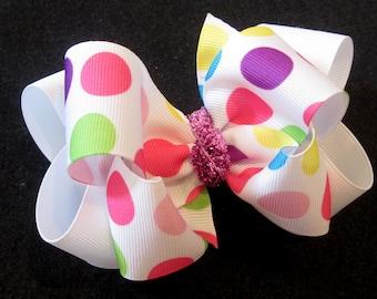 Girls Hairbows, Boutique Hair Bows, Big Bows, Large hairbows, Rainbow Dot Bow, Birthday Bow, Polka dot Hair Bow, first birthday Bow, Glitter