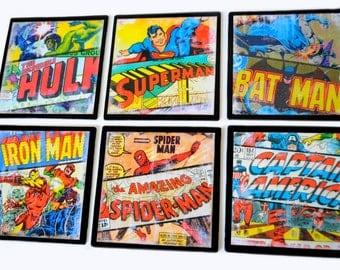 Spiderman Batman Iron Man Superman Captain America Incredible Hulk Superhero - Vintage Inspired Art - 6 piece set