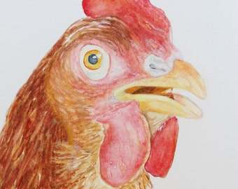 Original Watercolor Painting 5x7 ,painting number 35, David's Chicken,free shipping in Canada,bird painting,one-of-a-kind,watercolor,art4ear