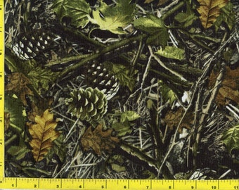 Woodland Camo Leaves and Pine Cones Quilting Fabric by the yard 168