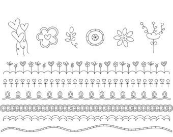 Doodled Vo3 Digital Stamps Clipart Clip Art Illustrations - instant download - limited commercial use ok