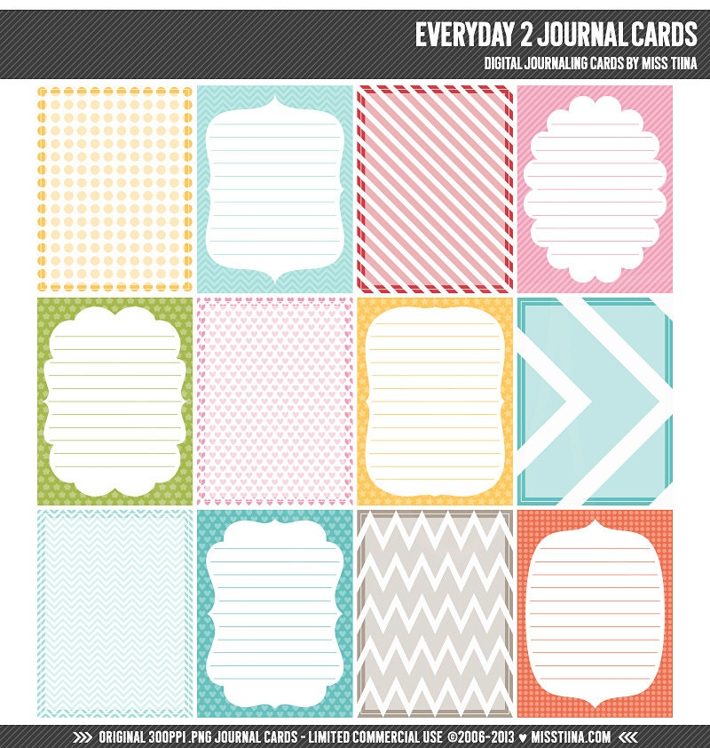 Everyday 2 Digital Journal Cards 3x4 project life inspired