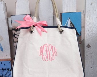Set of 5 Personalized Bridesmaid Gift Totes, Monogrammed Tote Bag, Personalized Canvas  Tote