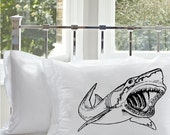 SALE Two (2) Black great white Shark Pillowcase cover teeth jaws WEEK NAUTICAL bull scary sharks room decor pillow case whale surfer