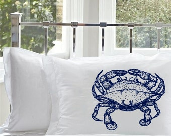 Two  (2 for 20) Navy Blue Crab White Nautical Standard Pillowcase pillow cover case