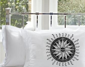 2 Two Black NAUTICAL Ship Compass PILLOWCASE sailor sail Pillow case navy ocean sea north eath south west decor beach room bedroom