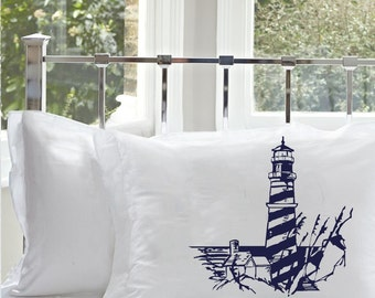 Two (2) Navy Blue Striped Lighthouse Nautical White Standard Pillowcase pillow cover case