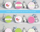baby shower favors (No.k43) bird girl polka dots pink green candy stickers