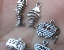Silver Pewter Camping Trailer, Fish, Camp Sign or Long Trailer Charm (two charms)