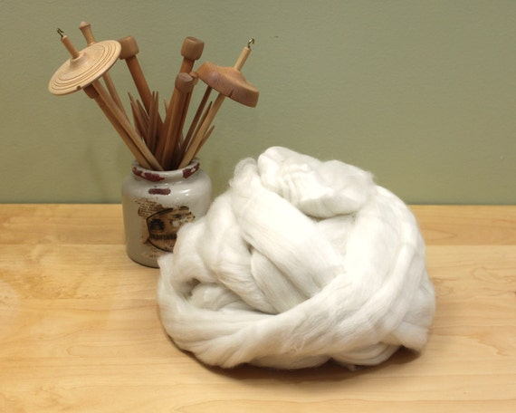 Alpaca/ Merino/ Silk Roving - Undyed Spinning Fiber (8oz)