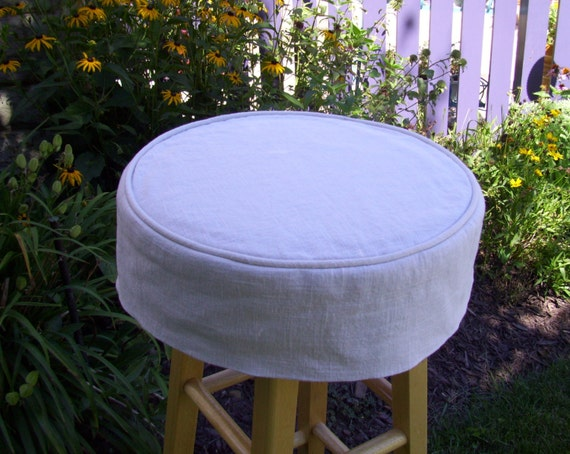 Large Round Barstool Linen Slipcover And Cushion Bar Stool