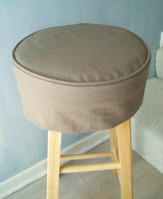 Toile brune ronde housse tabouret avec coussin lavable housse - Housse tabouret bar ...