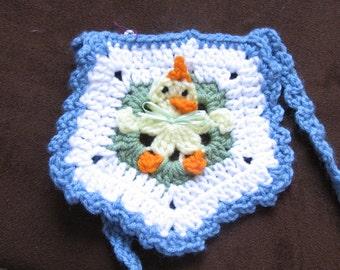 Handmade Crochet Baby Bib Newborn Animal Chick Duck Blue Easter Gift idea