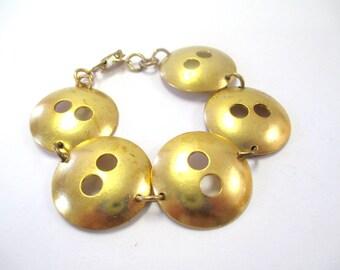 Vintage 1960's Gold-Tone Antique Button Style Bracelet DEADSTOCK