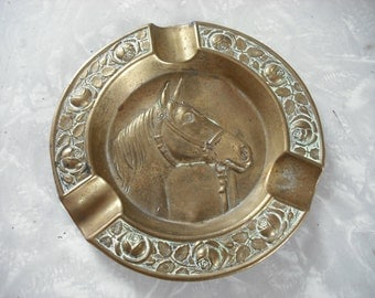 Vintage Ashtray Brass Horse Equestrian