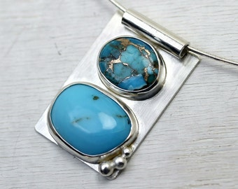 Modern Turquoise slider pendant in sterling silver with copper turquoise and silver accents